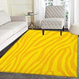 Zebra Print Print Area rug Zebra Skin Wild Animal Print Pattern with Vivid Colors Artwork Print Indoor/Outdoor Area Rug 3'x4' Yellow and Mustard