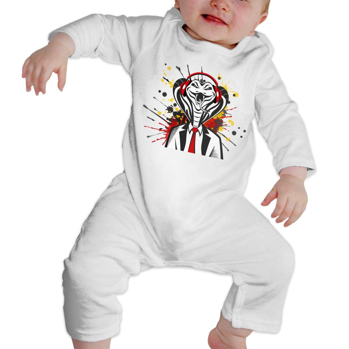 Baby Round Neck Long-Sleeve Pure Color Romper Hand Drawn Cartoon Cobra Crawling Clothes
