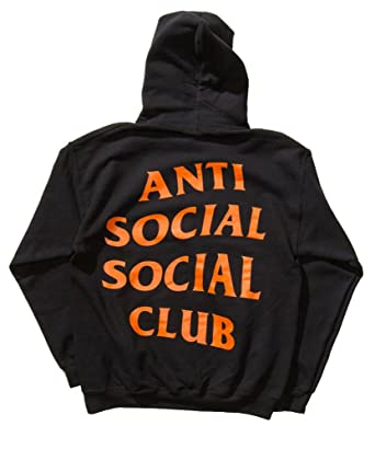 Identity Anti Social Club Hoodie In Black Orange Printed On Gildan