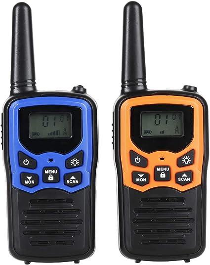 Robotime Walkie Talkies Establece Radio bidireccional de hasta 3-5 km de Largo Alcance 22 Canales con luz LCD en la Parte Superior (2 Pack): Amazon.es: Deportes y aire libre