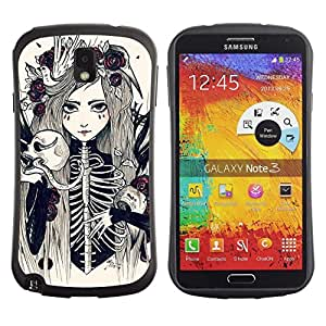 """Pulsar iFace Series Tpu silicona Carcasa Funda Case para Samsung Note 3 , Esqueleto de la muchacha mujer de la novia floral"""""""