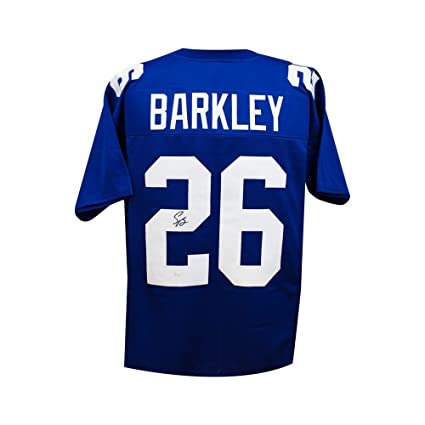 721c35571df Saquon Barkley Autographed New York Giants Custom Blue Football Jersey -  JSA COA