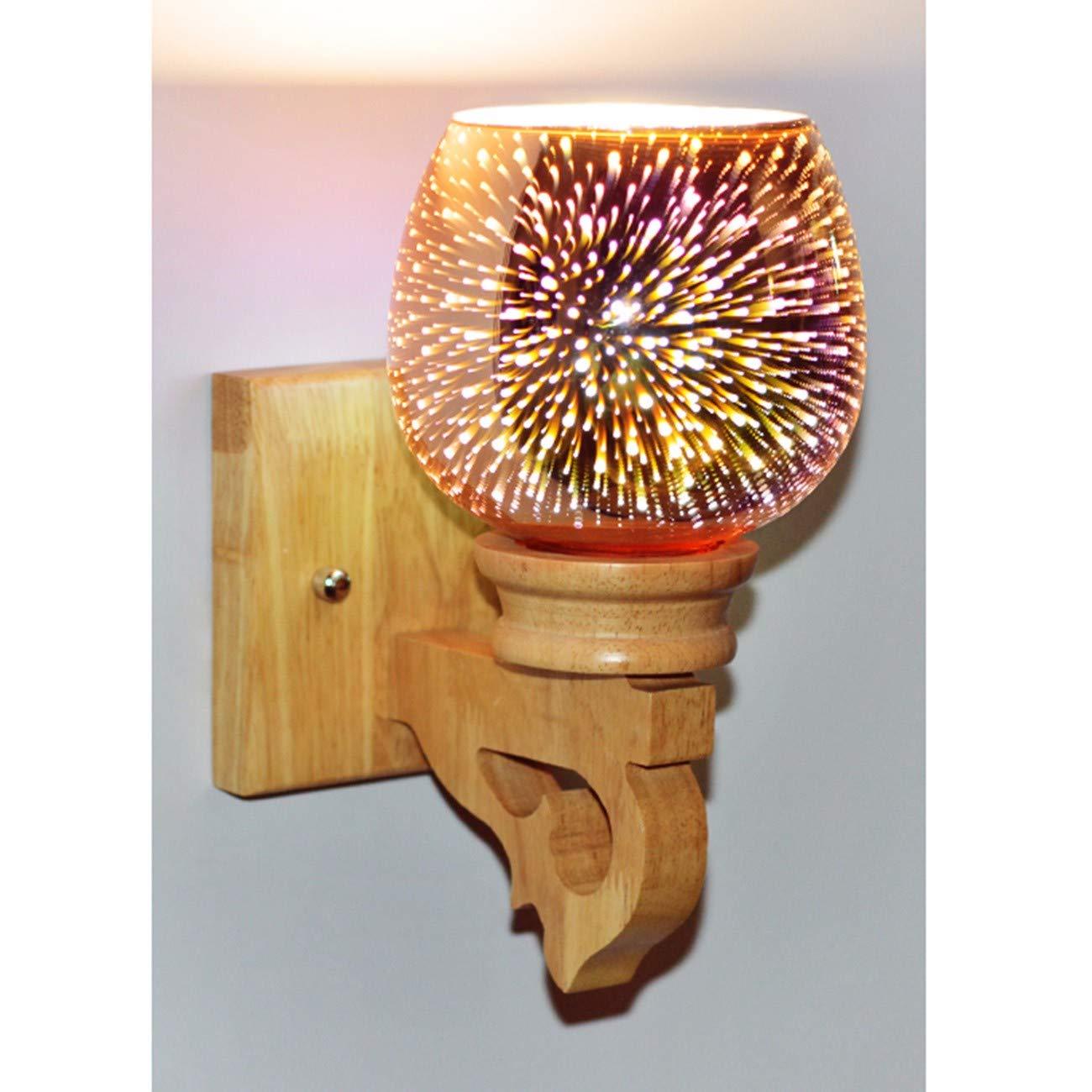 Nachttischlampe Log Wandleuchte Holz Gang Korridor Treppe Schlafzimmer Massivholz Wandleuchte, F