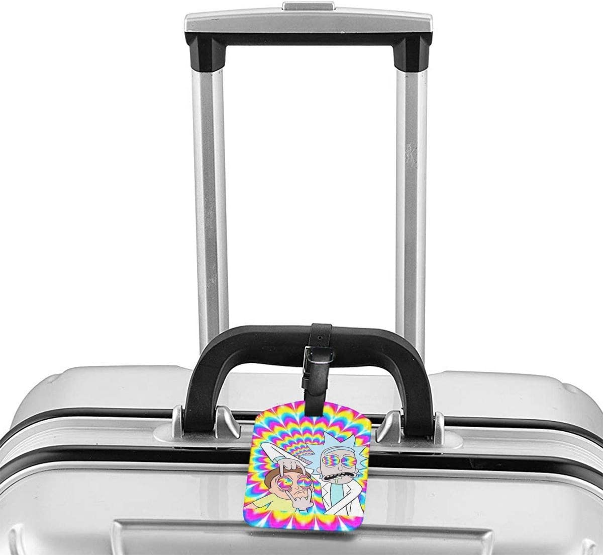 PU Leather Luggage Tags Spongebob Squarepants Suitcase Labels Bag Adjustable Leather Strap Travel Accessories Set of 2