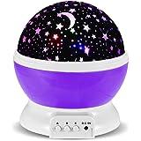 GRDE® Galaxy Constellation Table Veilleuse - 4 couleurs Vives avec 360 Projection Degré Moon Star et Rotation - Bébé Enfants Chambre et Nursery