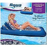 "Aqua Premium Convertible Water Lounge Inflatable Oversized Pool Float Multi Position Recliner, 74"""
