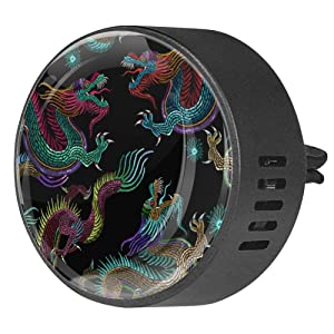 Embroidery Chinese Dragons Aromatherapy Air Freshener Vent Clip for Car Office Home Pack 2, Orchid
