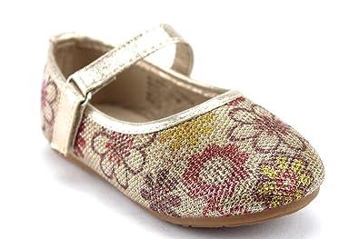 2a115baf0c83 Ositos Zula Toddler Girls FHX-03 Metallic Floral Print Mary Jane Flat Shoes