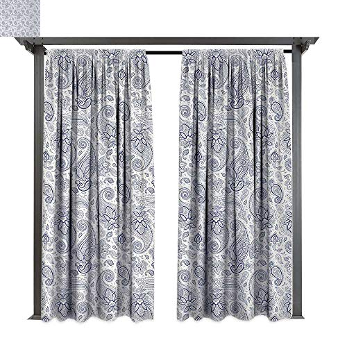 Paisley, Exterior/Outside Curtains, Abstract Backgrounded Hand Drawn Style Pattern with Flowers Leaves and Buds, for Patio Light Block Heat Out Water Proof Drape (W108 x L84 Inches, Black and White)