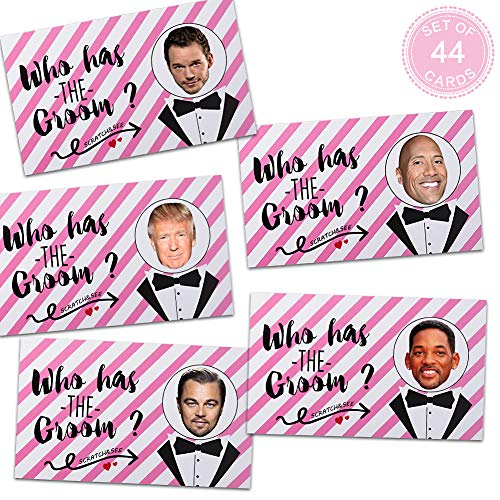 Bridal Shower Games - Who Has the Groom Scratch off Cards Funny Bachelorette Party Games Ideas 39Pop Culture Icon Game Cards+5 Blank Tuxedos Cards]()