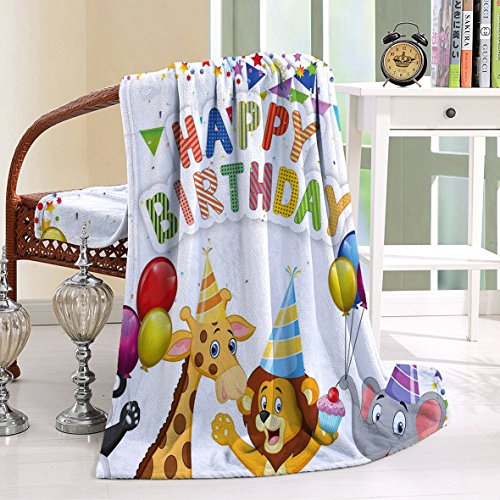 HAIXIA Throw Blanker Birthday for Kids Cartoon Safari Animals at a Party with Flags Balloons Multicolor