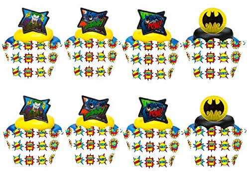 Item#133- 12pk Batman Cupcake Decoration Topper Rings with 12 Baking Cup Decoration Wrappers