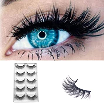b383e1e79d1 Amazon.com : 5Pairs 3D Black False Eyelashes Fluffy Longer Thick Soft  Extension Handmade Eyelashes Halloween Party (BLACK) : Beauty