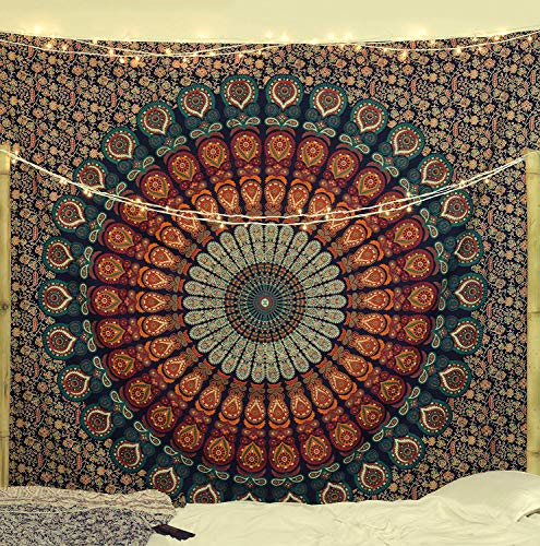 Popular Handicrafts Kp705 Hippie Mandala Bohemian Psychedelic Intricate Floral Design Indian Bedspread Magical Thinking Tapestry King Size by Popular Handicrafts