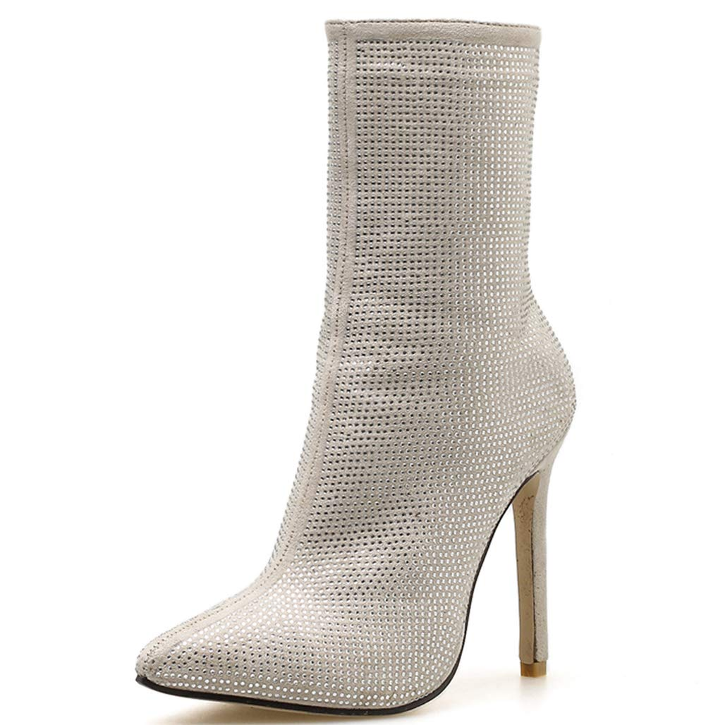 GoldGOD Frauen Damen High Heels Strass Pailletten Spitzen Damen Stiefel Fein Mit Party Schuhe,Weiß,42