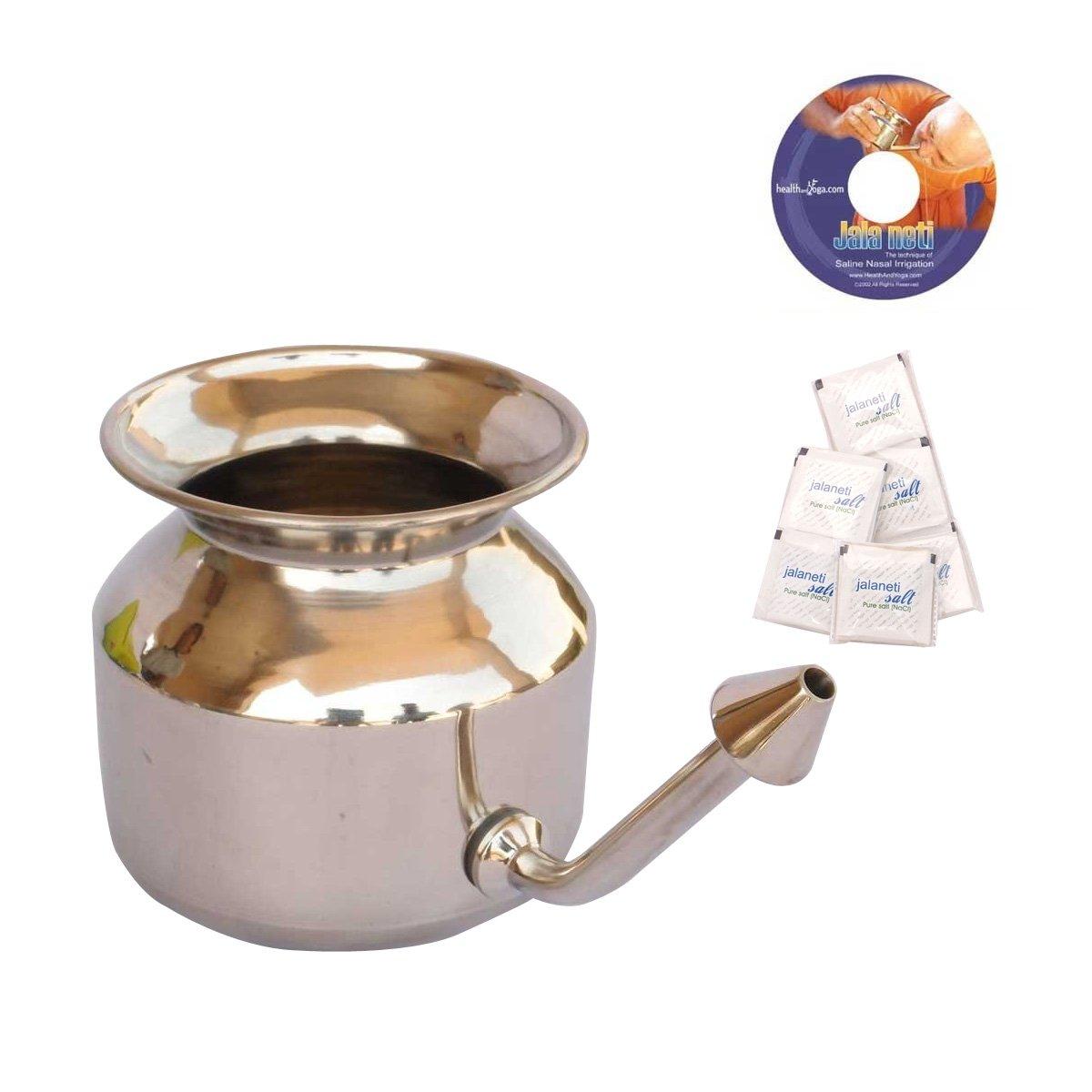 HealthAndYoga(TM) Superior Neti Pot Learner + Improver Kit | Unbreakable Stainless Steel Pot - Smooth 'Leak Plug' Nose Tip | Pure Salt 25 Pcs | Instructional DVD