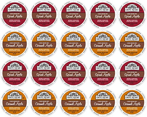 Ice Apple Cider - 20-count Single Serve Cups for Keurig K-Cup Brewers Grove Square Apple Cider Variety Pack Featuring Spiced Apple Cider and Caramel Apple Cider Cups