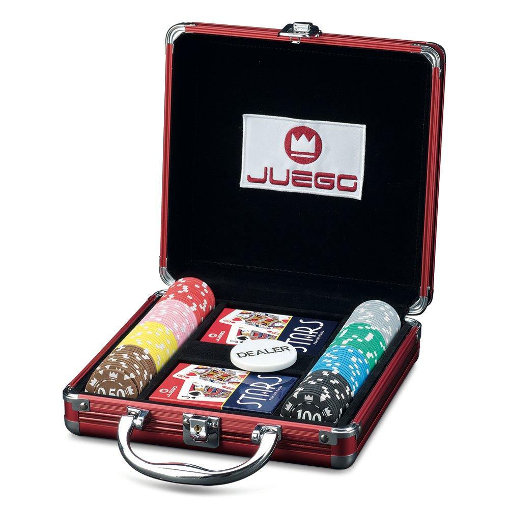 Juego - Ju00370 Mallette de Poker en aluminium, jeu de cartes, 100 fiches - Poker 100
