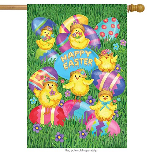 Happy Easter Chick (Happy Easter Chicks House Flag Decorated Eggs Holiday Briarwood Lane 28