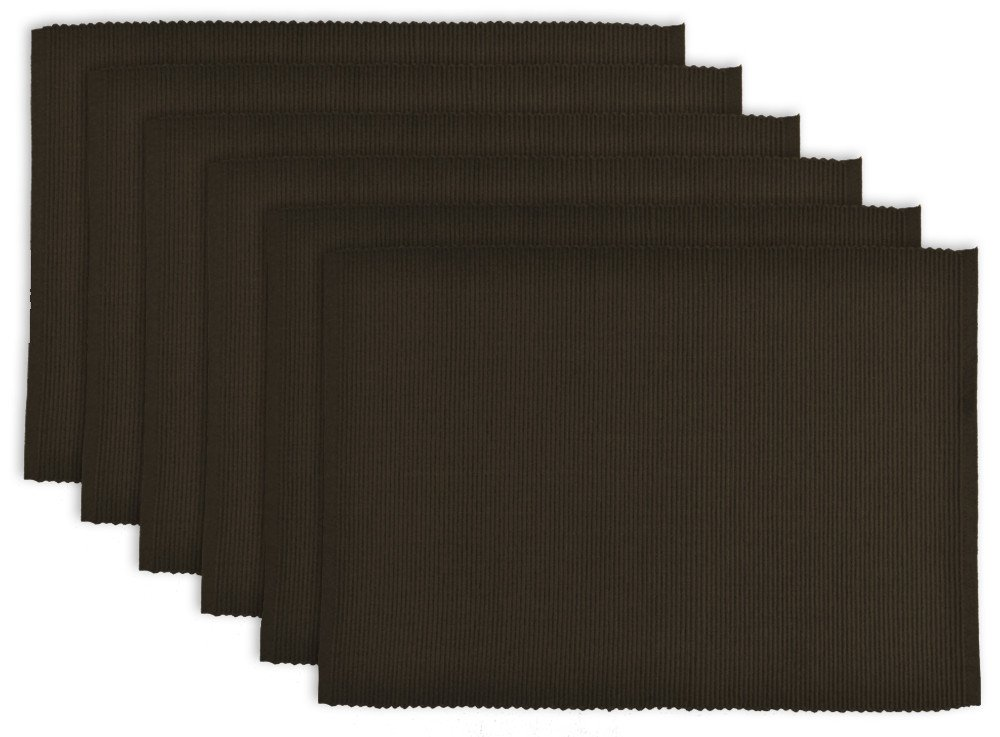 DII 100% Cotton, Ribbed 13x 19 Everyday Basic Placemat Set of 6, Dark Brown