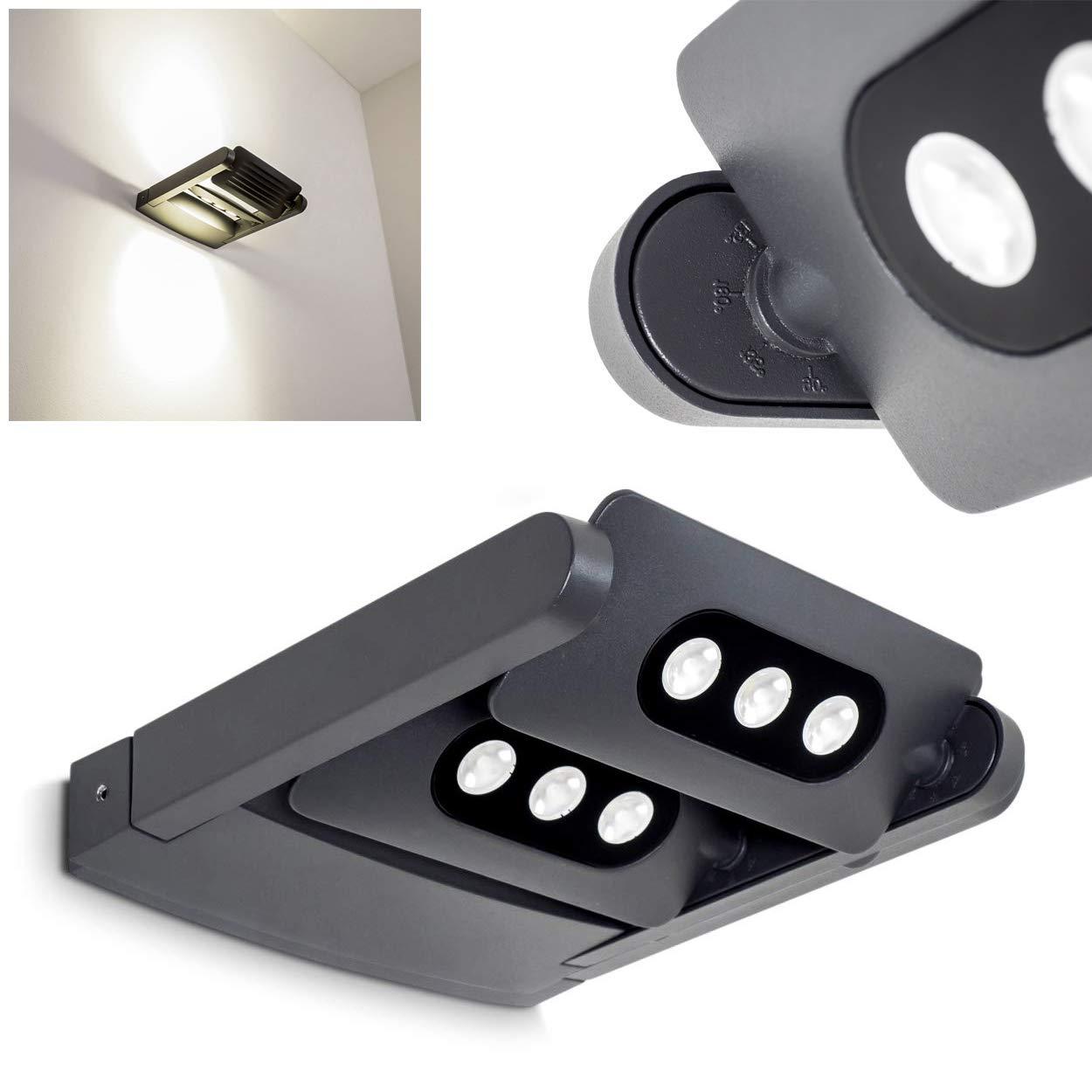 Applique da Esterno Design Moderno Colore Antracite Modello Tazlina- Lampada da Parete Elementi LED Luminosi Movibili Separatamente- Illuminazione per Esterno e Giardino Luce Bianca Neutra Orientabile