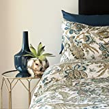 Zavaro Home Printed Jacobean Floral Leaf Lightweight Soft Microfibre Reversible Quilt Bedspread Coverlet Bed Cover Bedding with Shams 3pc Set King (104'' x 86'') Olive Green Blue Teal Natural White