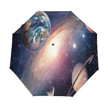 Space Planet Galaxy Universe Paraguas automático, resistente al viento, resistente al viento, resistente