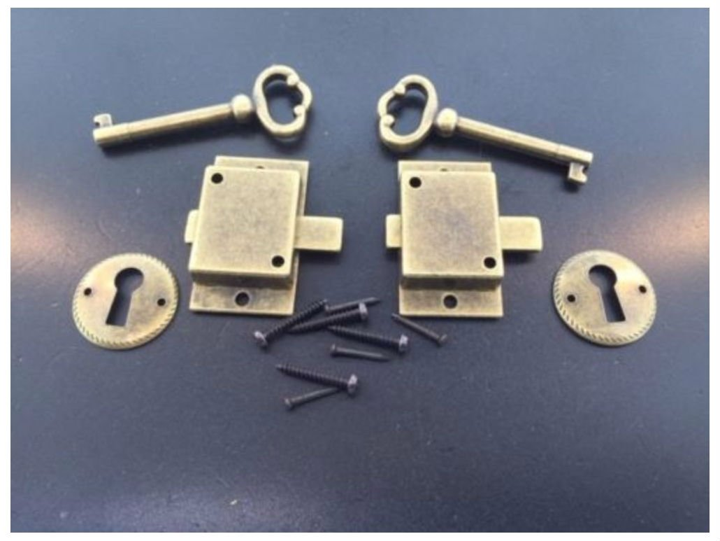 2 Curio Cabinet Front Door key and Lock Set in Antique Finish NOT APPLICABLE