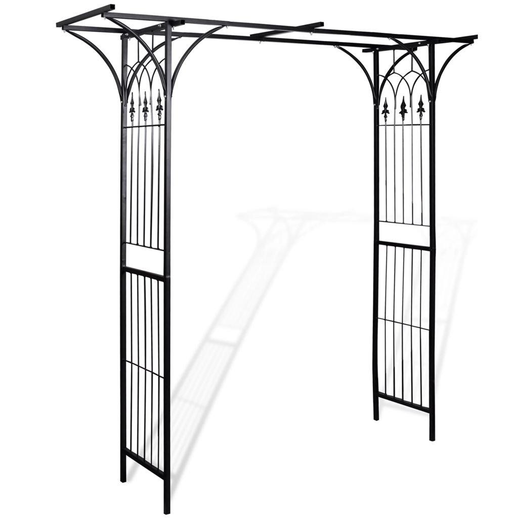 Arco da giardino in ferro 200 x 52 x 204 cm (L x P x H) e larghezza dell' Arca 150 cm nero