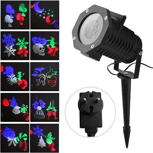 Luces de Proyector Navidad Interior y Exterior Fochea IP65 LED Luces Proyección con 12 Diapositivas&Controlador Remoto Decoración de Jardín Casa para ...