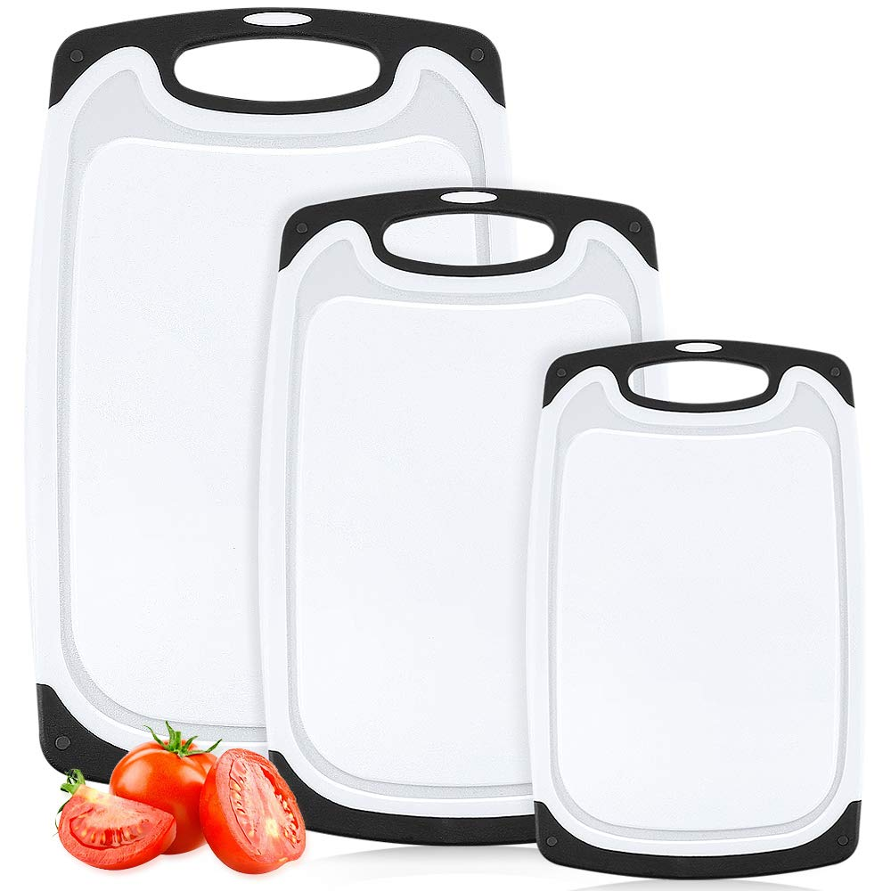 Plastic Cutting Board, 3 Packs Chopping Board with Food Grade PP Anti-Microbial and Deep Drip Juice Groove for Kitchen Tool-Black