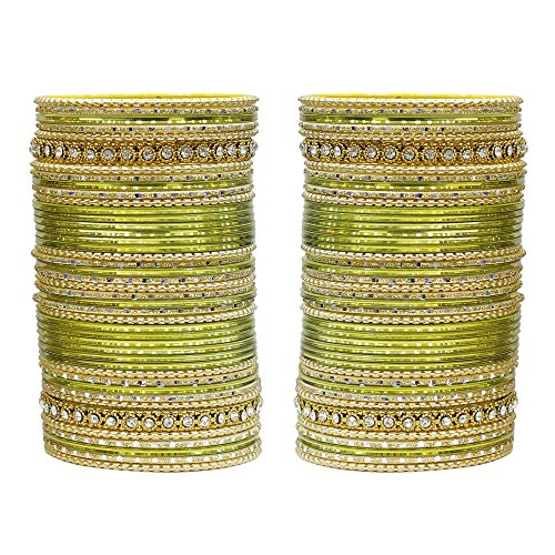 MUCH-MORE 86 Bangles Set of Multi Colour Amazing Collection of Bangles Set for Womens (Military, 2.8)
