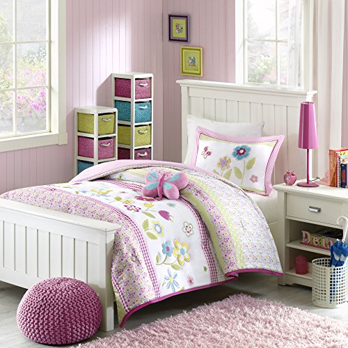 Mizone Kids Spring Bloom 4 Piece Comforter Set, Multicolor, Full/Queen Bloom Bedding