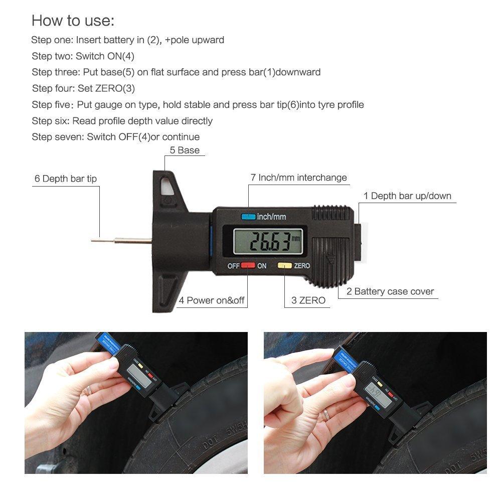 Lt01 Qees Digital Tyre Tread Jauge de profondeur /à port/ée des 0 25,4/mm avec grand /écran LCD pouces//mm Profondeur Chape r/églable Outil de mesure pour moto voiture van