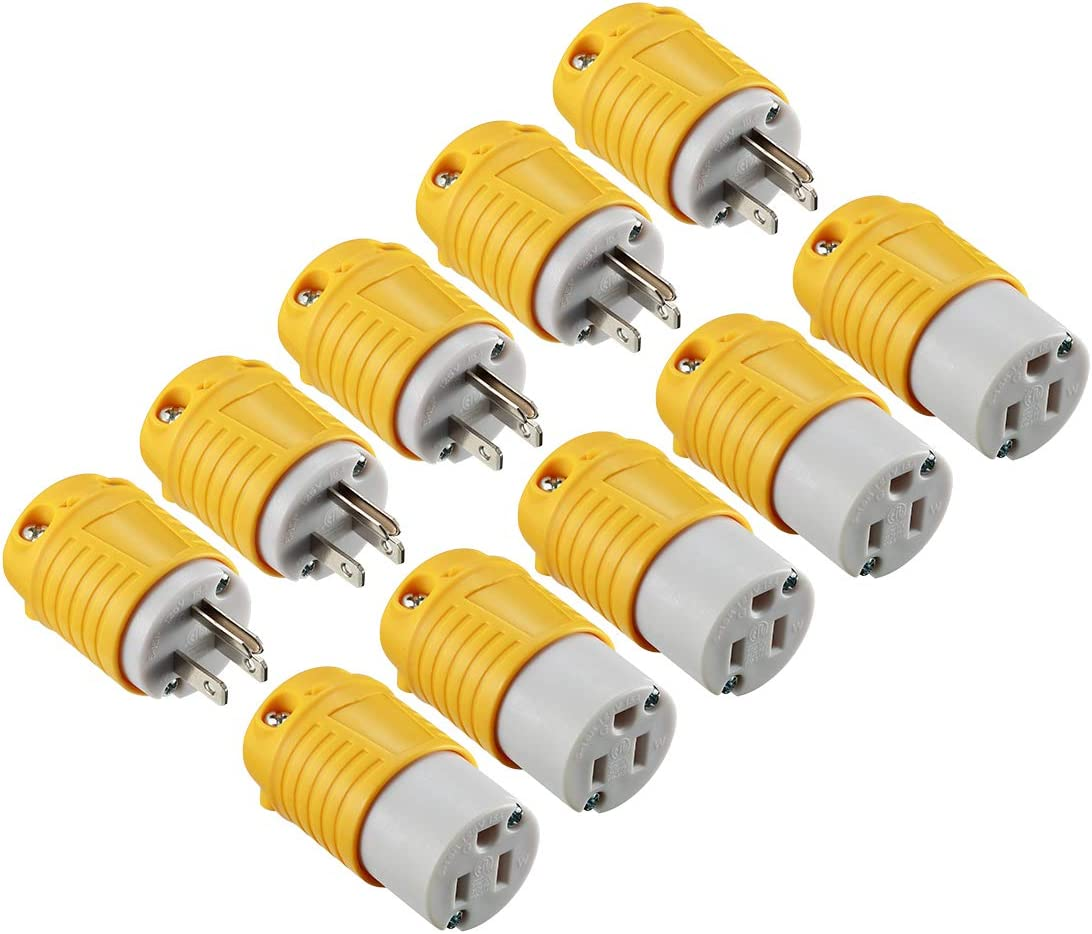 Miady Extension Cord Ends Male and Female, 15 Amp 125 Volt Heavy Duty Replacement Plug & Connector Set, Straight Blade Plug Grounding Type/ETL listed (5 SET)