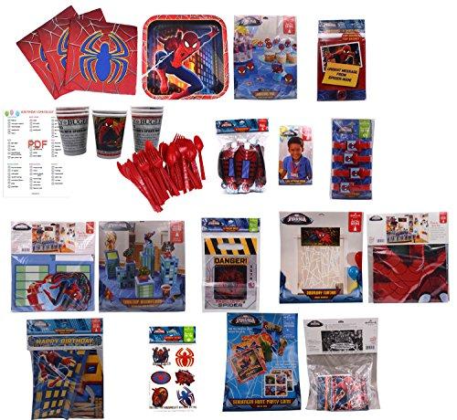 Marvel SpiderMan Birthday Party Supplies. Spider Man Paper Plates, Napkins, Cups, Spider Man Invitations, Spider Man Birthday Banner, Spider Man Room Decorations (Spider-Man 8 Guests)