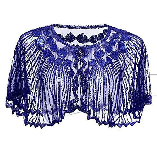 Lamosi Women's 1920s Shawl Beaded Sequin Deco Wedding Cape Evening Wrap Flapper Cover Up-Royal Blue