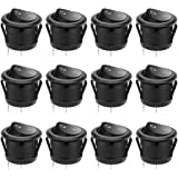 12 Pcs SPST Snap-in ON-Off 2 Pin Round Snap Rocker Boat Switch Black AC 250V 6A 125V 10A for Car Auto Boat Household Appliances by MXRS
