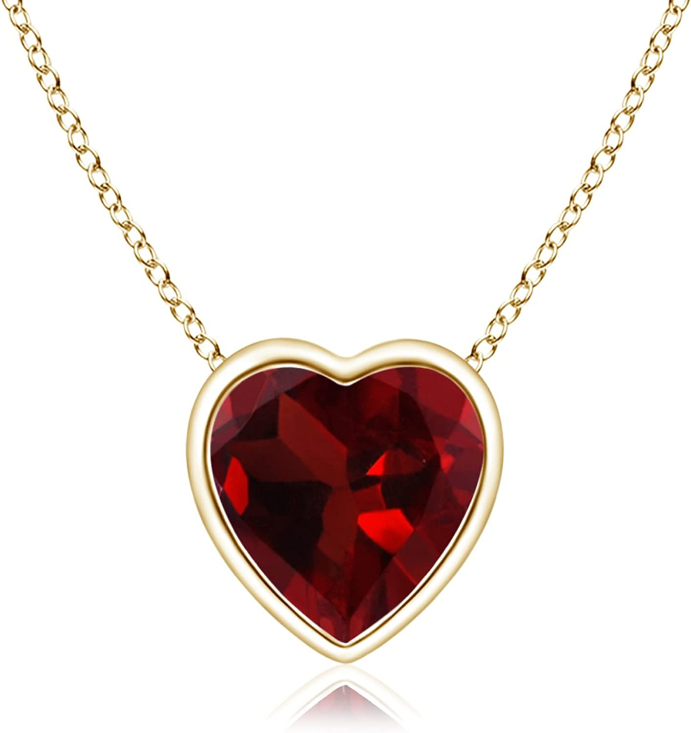 Details about  /January Birthstone Pendant Necklace Garnet in Yellow Gold Plated Silver or St