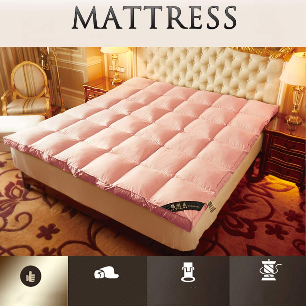 YQ WHJB Thicken Mattress Pads,Foldable Tatami Mattress,Polyester Non-Slip Solid Color Japanese Hotel Overfilled Soft Mattress Protector-Pink 90x200cm(35x79inch)