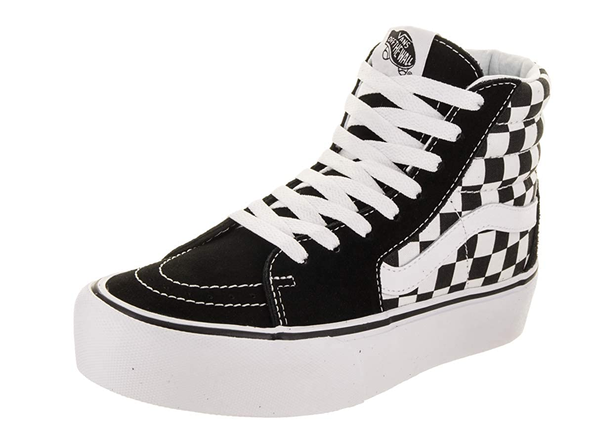TALLA 39 EU. Vans Women's Sk8 Hi Platform 2.0 Checkerboard Suede/Canvas Trainer True White