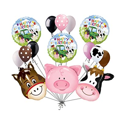 15 pc Farm Animal Heads Balloon Bouquet Happy Birthday Party Decoration Cow Pig: Toys & Games