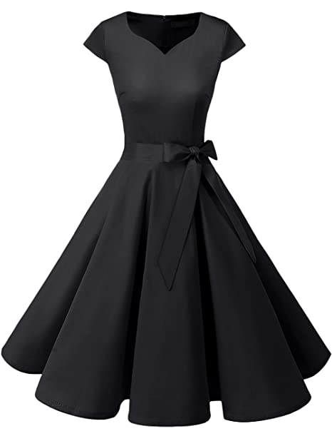 Rockabilly Dresses | Rockabilly Clothing | Viva Las Vegas DRESSTELLS Retro 1950s Cocktail Dresses Vintage Swing Dress with Cap-Sleeves $27.99 AT vintagedancer.com