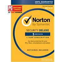 Symantec Norton Security Deluxe – 5 Devices – 1 Year Subscription – Product Key Card - 2019 Ready