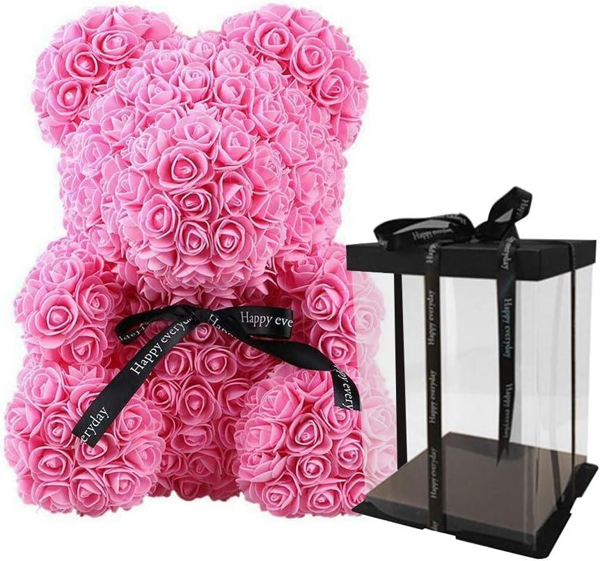 Lucoss Forever Rose Bear, Teddy Bear Forever Rose Flores Artificiales Muñecas Novel Fashion Oso Rosa Juguete para Aniversario Cumpleaños San Valentín Boda Madre Regalo Muñeca (Rosa, 25 cm)