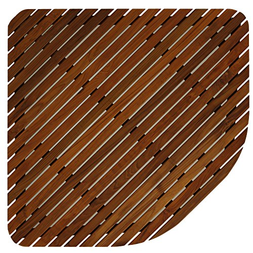 Bare Decor 30 by 30-Inch Erika Corner Shower Spa Mat in Solid Teak Wood and Oiled Finish, X-Large by Bare Decor