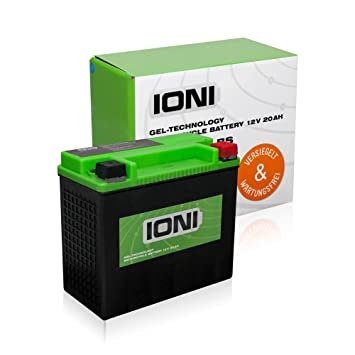 IONI Batería de Gel para Motocicleta, 12 V, 20 Ah (Similar a YTX20L-BS / GHD20HL-BS), sellada, no Necesita Mantenimiento: Amazon.es: Coche y moto