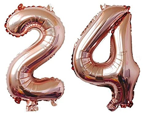 ZIYAN 40 Inch Giant 24th Rose Gold Number Balloons,Birthday / Party Balloons