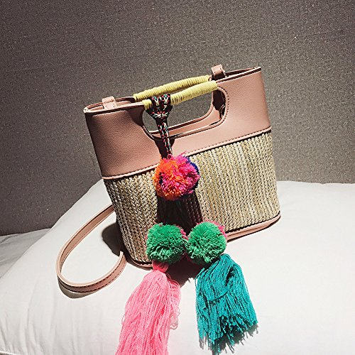 Pink Straw Shoulder Straw Summer Woven Bag QZUnique Pompon Crossbody Handbag Women's Tote Handbag With Beach Bag q5xttZwT