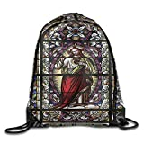 FYW Sacred Heart Of Jesus Catholic Gifts Believe Art Christian Wall Church Cathedral Window View Drawstring Bags School Gym Backpack